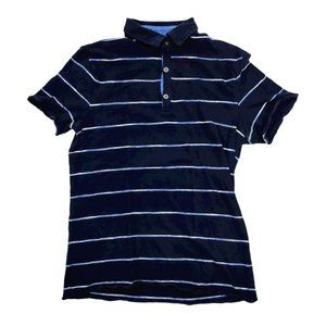 Banana Republic Polo Shirt Men's Small Blue Stripe
